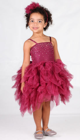 Ooh La La Couture Devin Dress w/Swarovski Crystals in Rhododendron Red sz 4 & 5 only