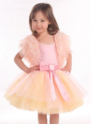 Ooh La La Couture Ruffle Shrug in Pink Champagne Peach  sz 2T & 3T only