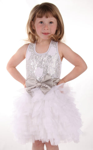 Ooh La La Couture Embroidered Tulle Wow Dream Dress in Silver & White sz 2t & 4