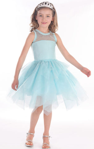 Ooh La La Couture Swarovski Necklace Dress w/Hanky Hem in Ice Blue sz 3T 4 & 14