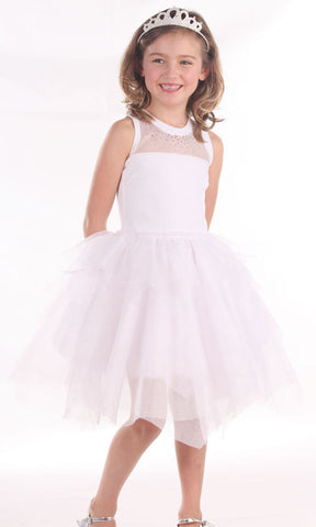 Ooh La La Couture Swarovski Necklace Dress with Hanky Hem in White sz 4 & 5 & 6 only