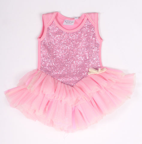 Ooh La La Couture Veve Onesie Dress in Pink Lady for Babies sz 9/12 m only