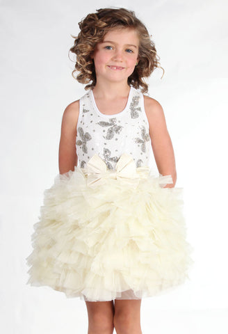Ooh La La Couture Wow Dream Dress with Champagne Bows in White