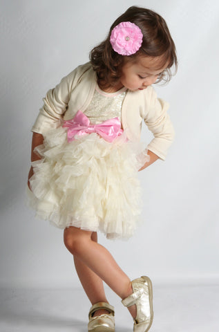 Ooh La La Couture Wow Dream Dress in Champagne with Pink Lady Bow for Girls