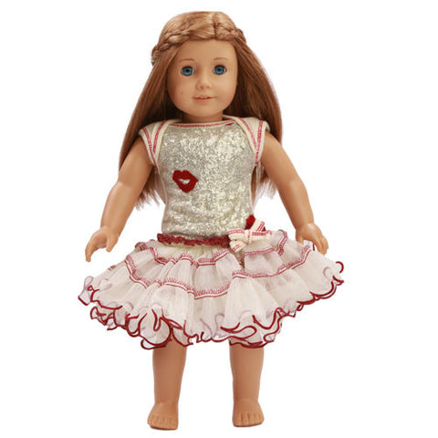 Ooh La La Couture Curly Edge Poufier in Champagne/Red Kisses for Dolls