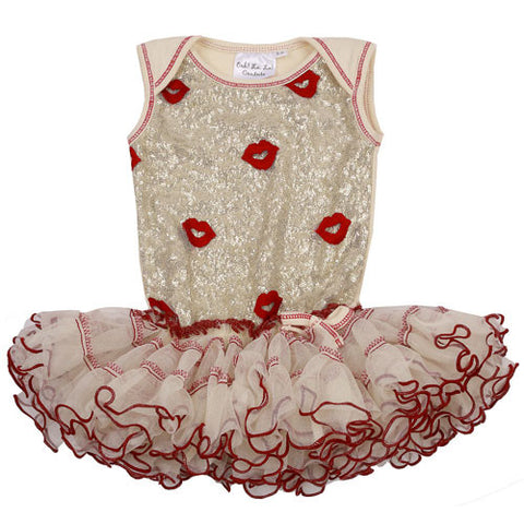 Ooh La La Couture Curly Edge Poufier in Champagne/Red Kisses for Babies