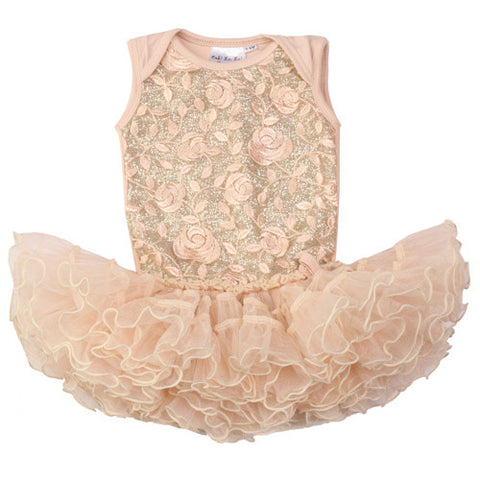 Ooh La La Couture Curly Hem Poufier Onesie in Embroidered Pink Champagne for Babies