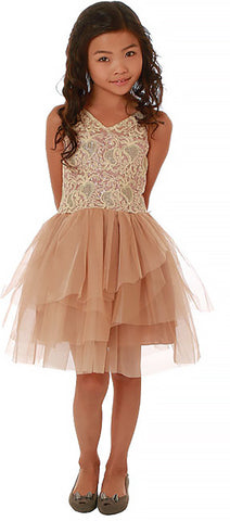 Ooh La La Couture V-Neck Dream Dress in Rose Gold sz 12 only