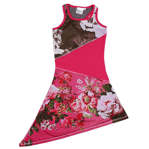 Ooh La La Couture Floral High Low Knit Dress in Hot Pink