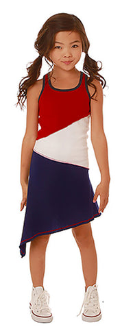 Ooh La La Couture 4th of July Asymmetrical Knit Dress sz baby to 6 years