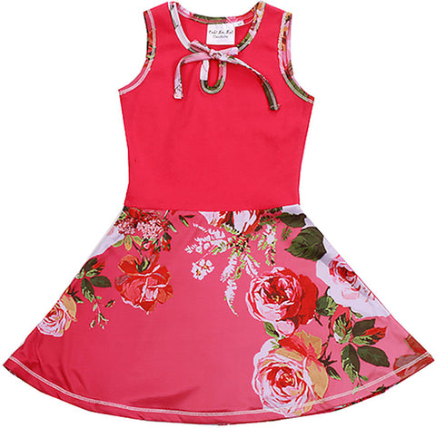 Ooh La La Couture Floral Fit and Flare Knit Dress in Hot Pink sz 24m & 2T