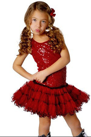Ooh La La Couture Lettuce Edged Poufier in Deep Red sz 18 mos & 24 mos only