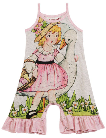 Paper Wings Girl & Swan Frilled Romper sz 3 mos & 6 mos only