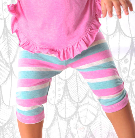 Paper Wings Organic Shirred Capri Striped Legging sz 12m & 18m & 5 only