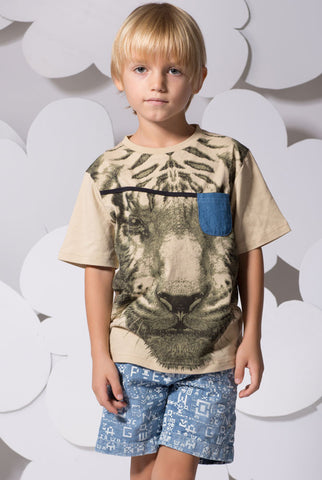 Paper Wings Tiger Pirate Tee for Boys