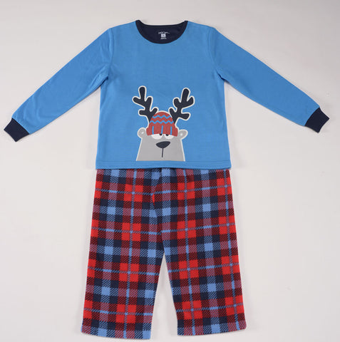 Petit Lem Natural Pajamas in Printed Plaid Holiday Christmas Fleece for Boys