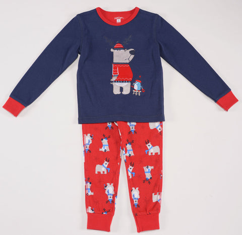 Petit Lem Natural Pajamas Reindeer Bear for Boys Great for Holidays & Christmas