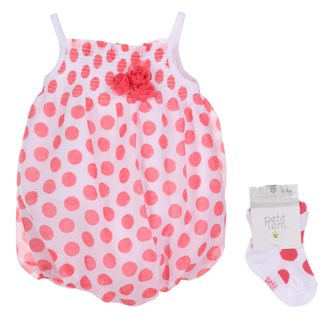 Petit Lem Baby Girls Flamingo Mango Dot Bubble Romper with Socks