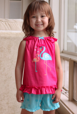 Petit Lem Flamingo Top and Shorts Set sz 6 only