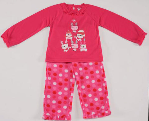 Petit Lem Natural Pajamas in Dotted Fleece with Holiday Christmas Cats