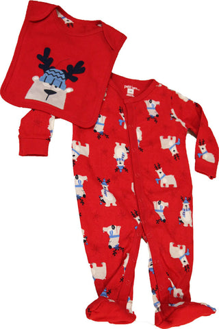 Petit Lem Natural Reindeer Bear Footed Onesie with Bib for Babies