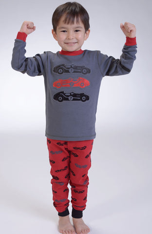Petit Lem Natural Pajamas in Formula One Race Cars sz 2 & 5 & 6x & 10 for Boys