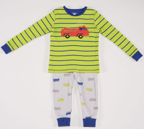 Petit Lem Natural Pajamas in Fire Truck Green sz 2T & 6x only