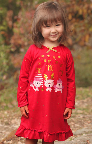 Petit Lem Red Ho Ho Holiday Christmas Nightgown
