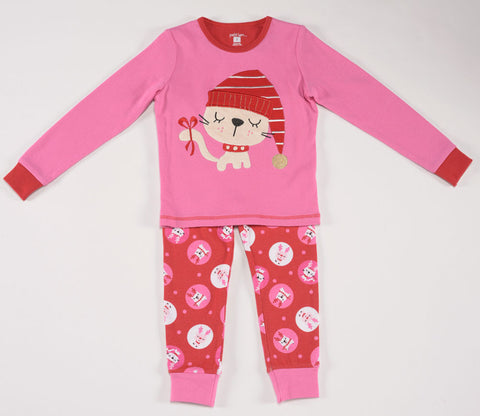 Petit Lem Natural Pajamas Holiday Cat in Pink 12m-24m