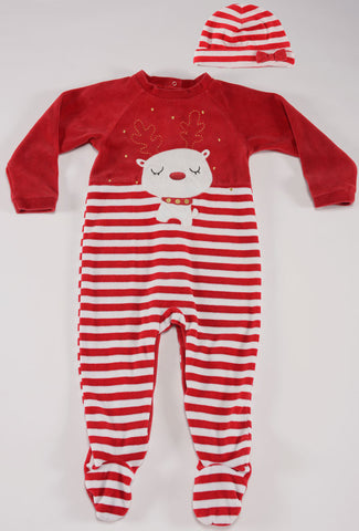 Petit Lem Holiday Cat Velour Romper with Hat