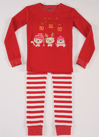 Petit Lem Natural Pajamas Ho Ho Ho Holiday Cats
