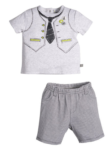 Petit Lem Jazzy Baby Vest and Tie Tee with Houndstooth Shorts for Baby Boys