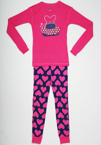 Petit Lem Natural Pajamas with Purse and Hearts