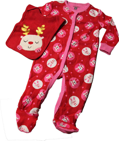 Petit Lem Holiday Cats Footed Onesie with Bib