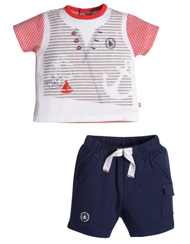 Petit Lem Sea Explorer Shorts Set for Baby Boys