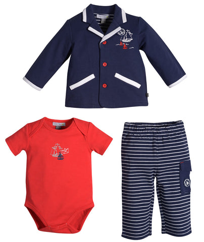 Petit Lem Sea Explorer Nautical Sailor 3pc Suit Set for Baby Boys