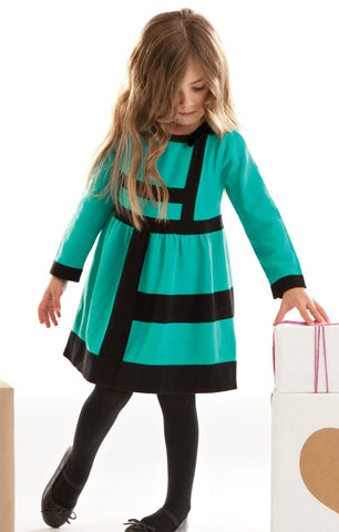 Rabbit Moon Luna Teal Color Block Sweater Dress