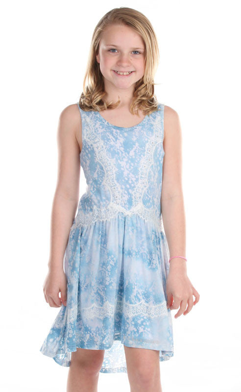 Hannah Banana Serene Blue Lace Trimmed Stretch Knit Dress ...