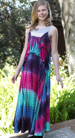 Hannah Banana Earth Day Tie Dye Maxi Dress with Fringe and Ruffles