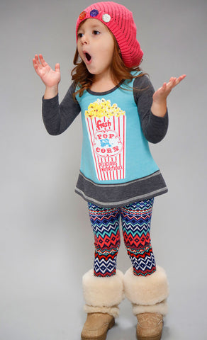Sara Sara Neon Popcorn Tunic with Zig Zag Leggings Set