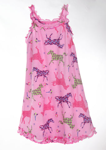 Sara's Prints Natural Ruffled Tank Nightgown in Pretty Horses sz 3 only