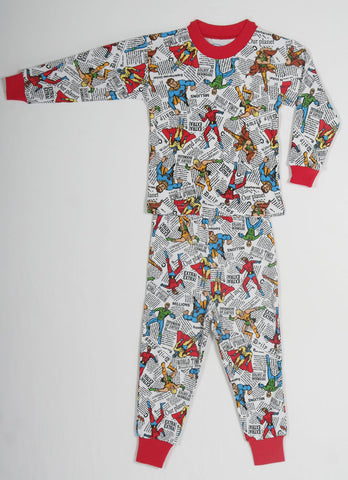 Sara's Prints Natural Long Sleeve Comic Book Heroes Pajamas for Boys