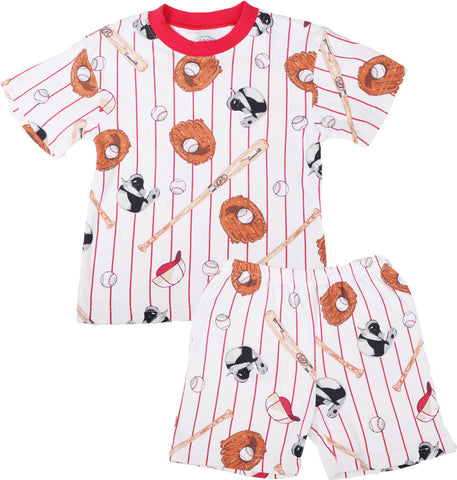 Sara's Prints Natural Short Sleeve Baseball Stripe Short Pajamas