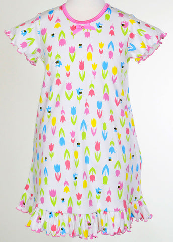Sara's Prints Natural Busy Bee and Tulips Ruffled S/S Nightgown