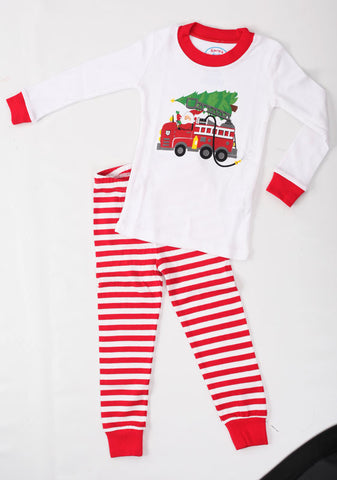 Sara's Prints Natural Santa's Firetruck Holiday Christmas Pajamas sz 8