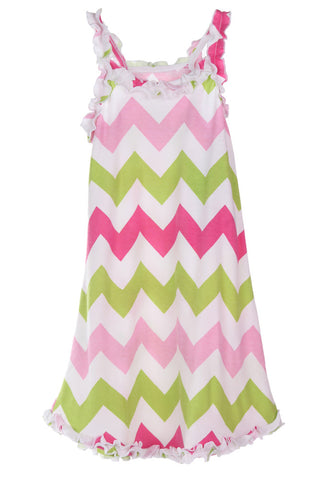 Sara's Prints Natural Ruffled Tank Nightgown in Lime Chevron Toddler sz 2 3 only