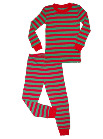 Sara's Prints Emerald & Red Stripe Pajamas for Kids & Adults!