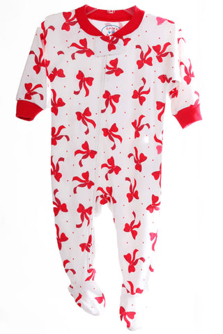 Sara's Prints Dancing Bows Holiday Christmas Footed Pajamas