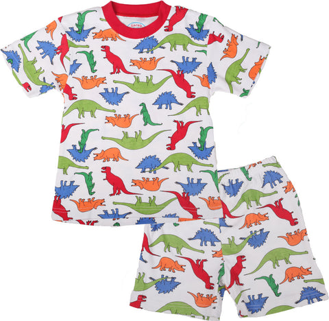 Sara's Prints Natural Short Sleeve Dinosaur Parade Pajamas