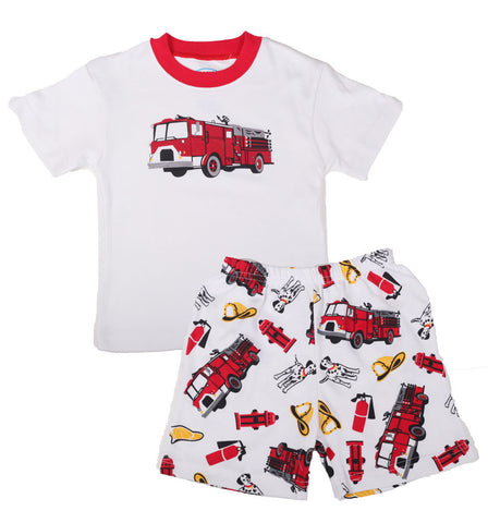 Sara's Prints Natural Short Sleeve Santa's Firetruck Pajamas Shorts sz 2 only